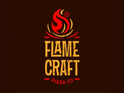 FlameCraft pizza logotype flame craft logo pizza