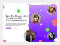 Sync clean ux ui typography colors website landing page design bills roommates payments payment app