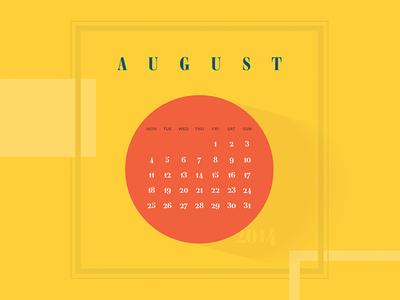 Calendar wallpaper August 2014 - Typofonderie