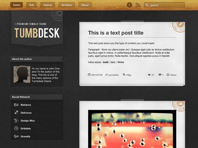 Tumbdesk  web design tumblr template hevetica neue bebas tungsten wood texture paper