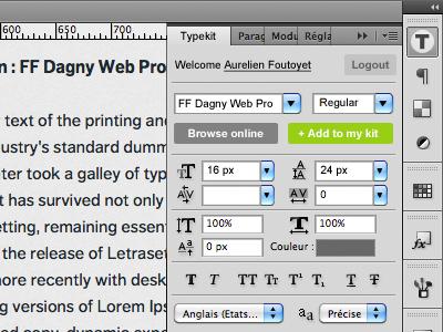 Typekit Photoshop Extension