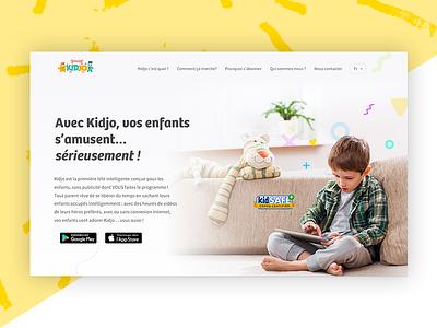 Kidjo app website redesign website colors kid landing app art direction design user interface ui
