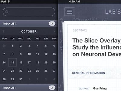 iLabManager UI for iPad ipad ui science experiment lab