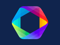 Multi-color hexagon product icon