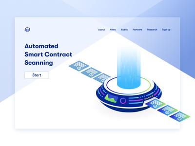 Smart Contract Scanner isometric illustration ethereum machine scanner security blockchain smart contract