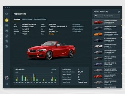 Vehicle Registration Platform dashboard vehicle blockchain