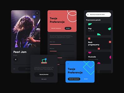 Mobile Music App. User preferences. darkmode concept branding brand app