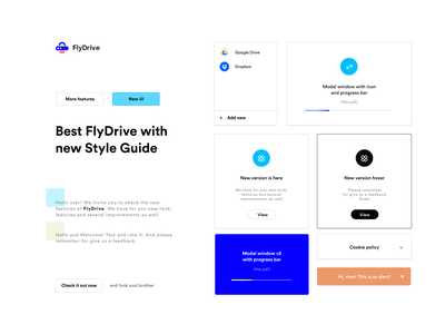 FlyDrive - Inviting landing page (Style Guide .beta) web app style guide styleguide figma
