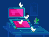 Ducks at work