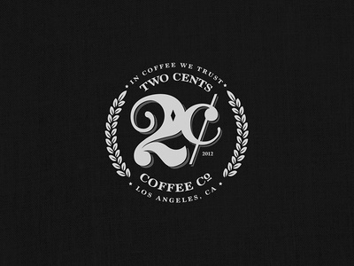 Two Cents Coffee Co. cents leaf money crest branding typography logo illustration coffee