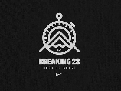 Breaking 28 Hood to Coast Team coast hood portland ocean mountains mark iconography icon illustration line lettering graphic