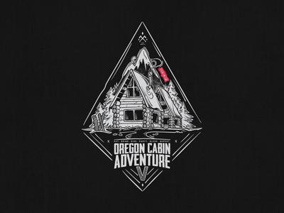 Oregon Cabin Adventure V typography drawing oregon black and white trees mountains adventure ski snowboard illustration mt hood cabin