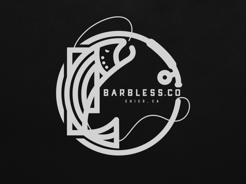 Barbless.Co line work mark brand and identity fishing fly fishing typography logo illustration branding
