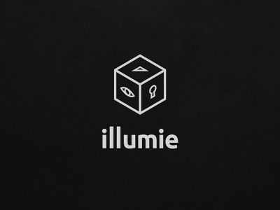 illumie logotype logo mark upvote keyhole key all seeing eye line typography branding