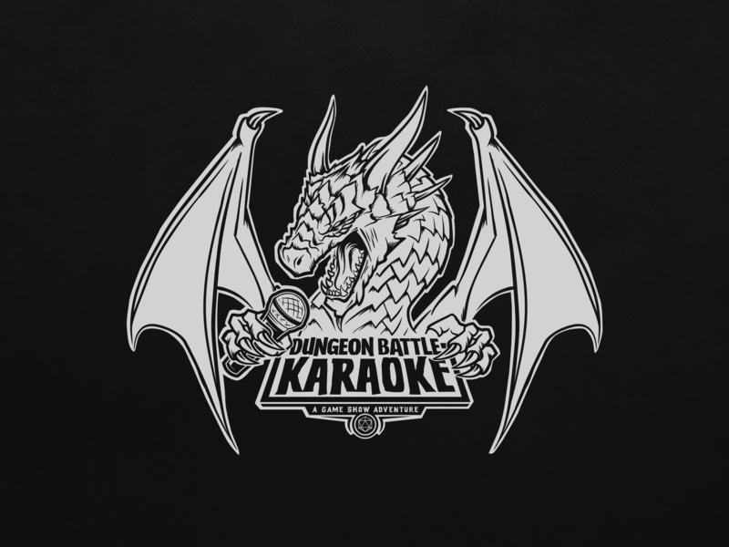 Dungeon Battle Karaoke typography logo branding gameshow game lines black and white illustration dragon dungeons and dragons
