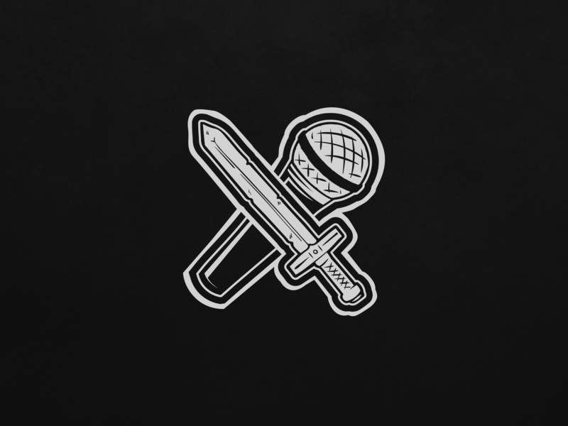 Dungeon Battle Karaoke Asset lockup branding illustration karaoke dd dnd sword microphone