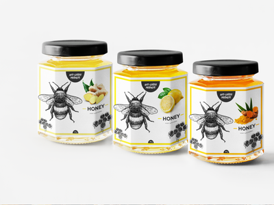 Label - Raw Honey - Brand Identity ui brand identity branding design brand design bottle label bottle design bottle honey bottle honey packaging honeybee honey packaging design package design packaging package pack branding design brand