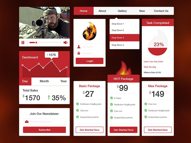 Freebie PSD: fire UI Kit freebie psd flat ui kit fire dashboard login video package picker drop down