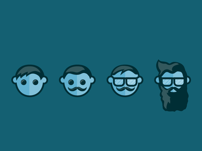 User Persona Icons  experience male hipster people face icons parsona user