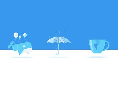 Fail illustrations  rain whale umbrella fail broken coffee blue wix