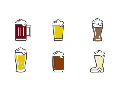 Beer Icons (Freebie vector)  icon ai vector freebie free line glass icons beer