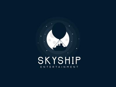 SKYSHIP  light circle blue sail moon dark logo ship sky