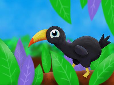 Toucan illustration tropical bird digital pencil pro ipad toucan