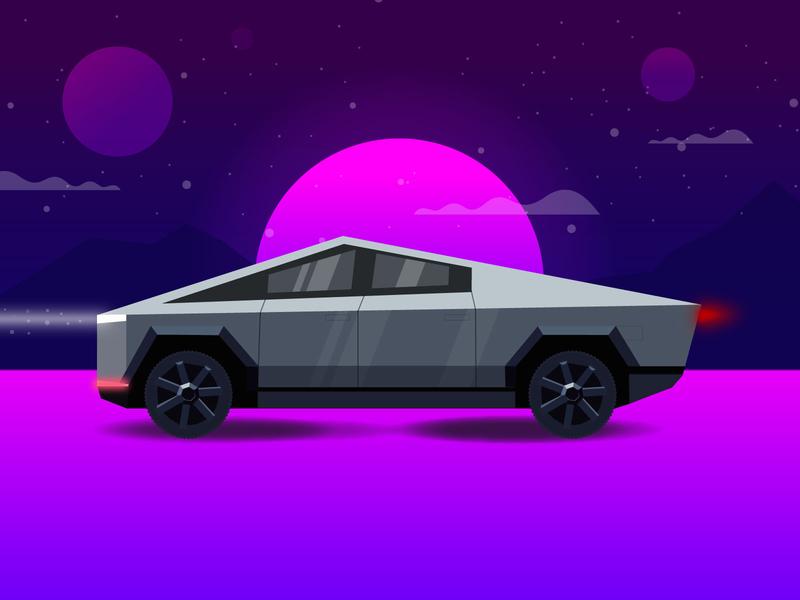 Cybertruck adobe illustrator adobe vector illustration 90s 80s pink purple elon elon musk truck new car retro cybertruck cyberpunk tesla