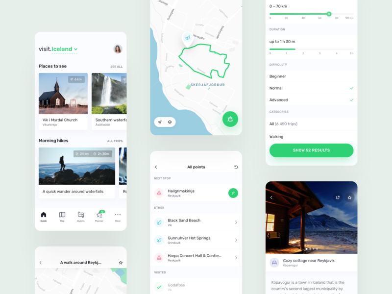 visit.World – travel guide app ar green icon community ios planner product design tourist trip quest filter map guide travel mobile ux ui app