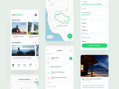 visit.World –travel guide app ar green icon community ios planner product design tourist trip quest filter map guide travel mobile ux ui app