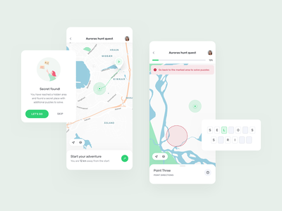 visit.World – quests vector branding ui ux travel illustration progress quiz puzzle map terrain quest game notification action sheet modal android ios mobile app