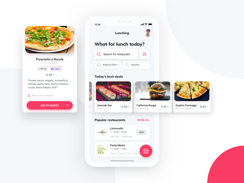 Lunching App order pizza food delivery lunch ios ux ui mobile design app android