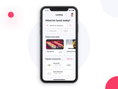 Lunching App – interactions prototype principle app design animated motion animation interaction process order lunch delivery food pizza android ios app mobile ui ux ux ui