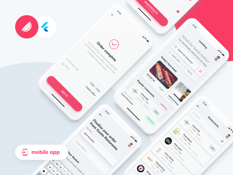 Lunching meets Flutter – mobile app red minimal app minimal mobile design mobile app mobile flutter product design uiuxdesign uiux design lunch android ios food delivery ux app ui
