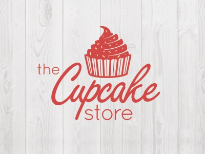 The Cupcake Store logo illustration cupcake script