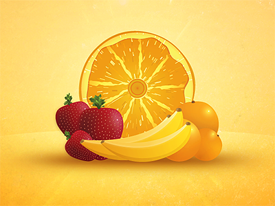 Fresh Fruit illustration iconography vector fruit bananas strawberries oranges