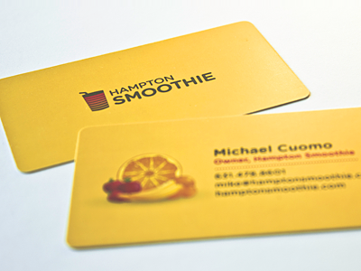 Hampton Smoothie Business Cards yellow fruit photography print logo illustration business cards