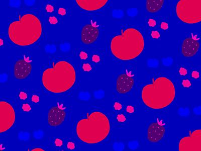 Fruit Pattern blue vivid color graphic design drawing pattern illustration fruit