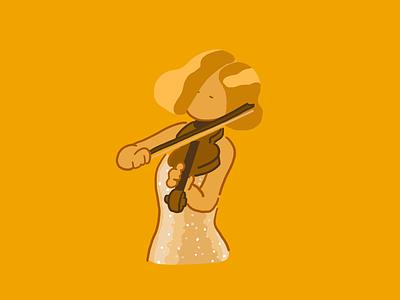 Lisa Batiashvili's Sibelius Violin Concerto violin graphic design character yellow color drawing illustration