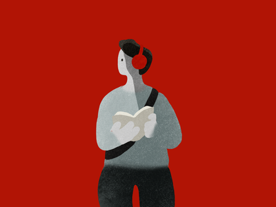 Waiting moments simple character color red design graphic illustration