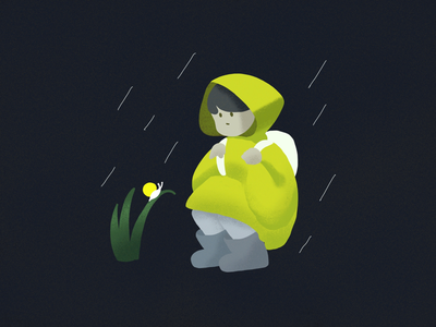 Yellow friends in the rain illustration graphic design character tone color yellow