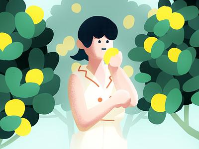 Lemon tree green tree lemon plant design graphic color character illustration