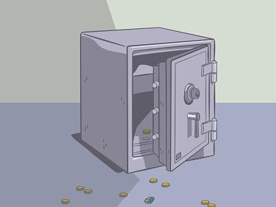 Break-In vector illustration illustration coins safe