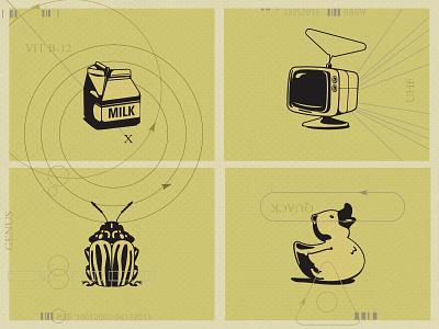 Self-promo Illustrations duck beetle television milk vector art illustrations