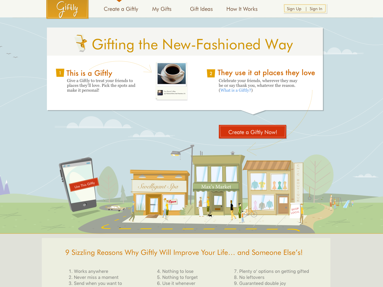 Giftly Home Page illustration home page design ui startup giftly