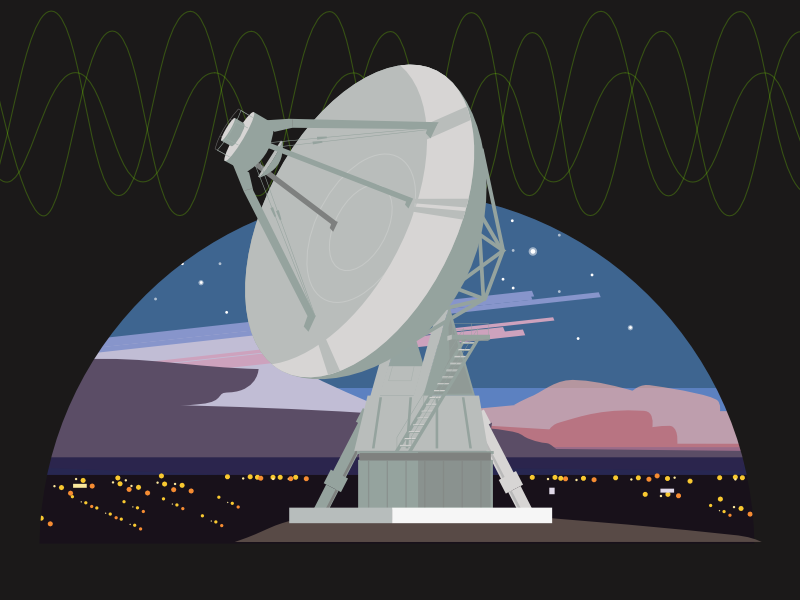 Wavelengths May Vary illustration city lights night sky satellite