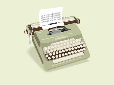 Typewritin' type vintage illustration typewriter