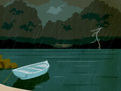 Old Boat in the Storm lightning gloomy lake dark illustration boat rain storm