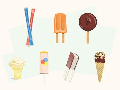 Summertime Treats freeze pops illustration ice cream sandwich push pop dilly bar popsicle ice cream