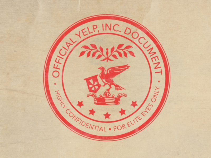Yelp Confidential Stamp stamp seal crown bird illustration iconography icon yelp